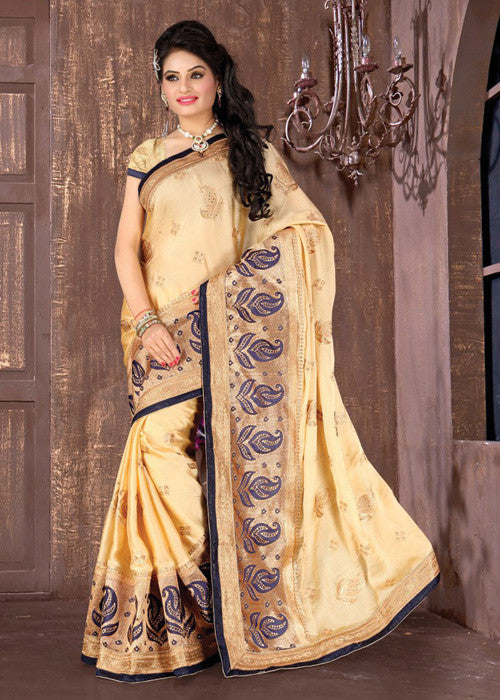CLASSY CREAM SATIN / CHIFFON SAREE - indian designer sarees