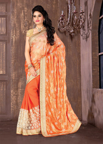 ELEGANT ORANGE CRUSH SATIN / FAUX GEORGETTE PARTY SAREE