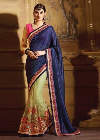 STUNING BLUE & GREEN NET SAREE