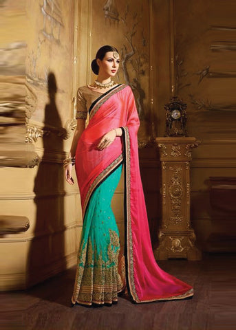 PINK & SEA GREEN NET / SATIN / CHIFFON SAREE