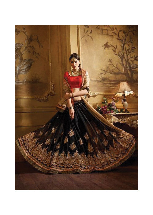 SPARKLING BEIGE & BLACK GEORGETTE / SATIN SAREE