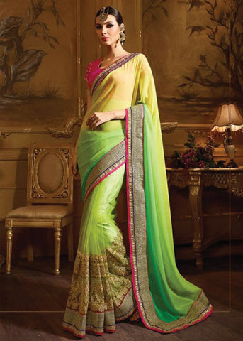 ROYAL GREEN & YELLOW NET / CHIFFON SAREE