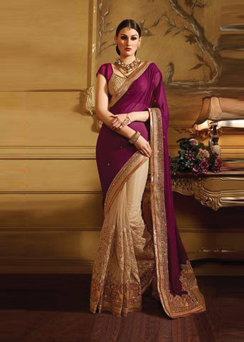 IMPERIAL BEIGE & MAROON FANCY / NET / GEORGETTE SAREE