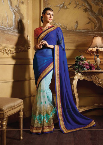 BEAUTIFUL BLUE NET & GEORGETTE SAREE