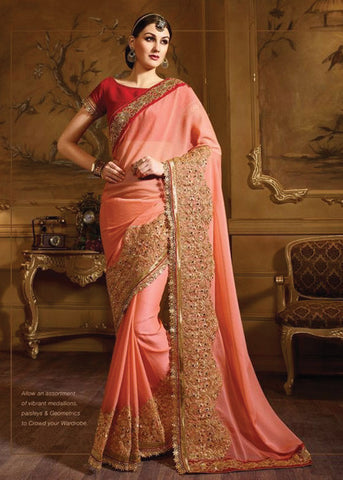 IMPERIAL PEACH FANCY SAREE