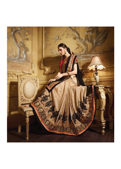EVERGREEN BLACK & BEIGE GEORGETTE SAREE