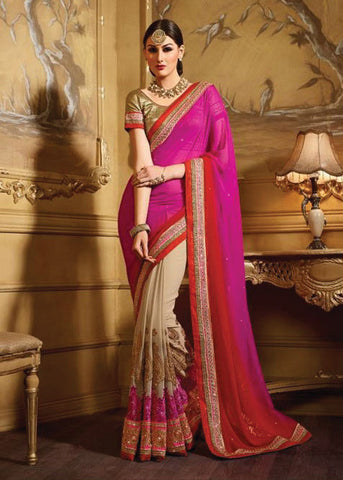 DAZZLING PINK RED & BEIGE GEORGETTE SAREE
