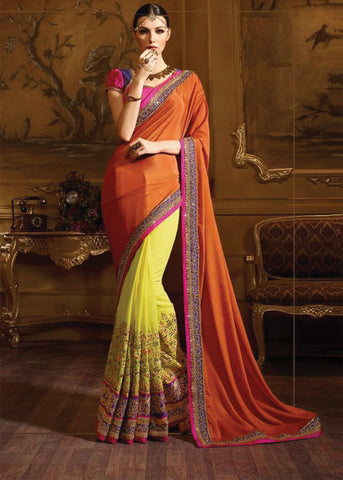 YELLOW ORANGE HALF N HALF GEORGETTE INDIAN SAREE