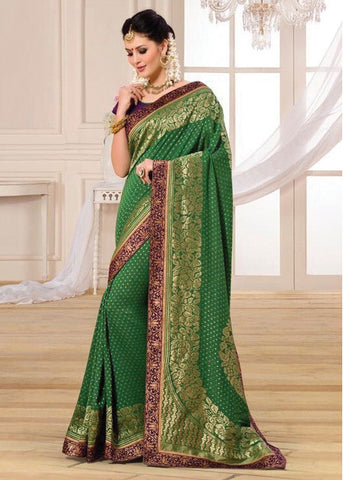 INCREDIBLE GREEN BANARASI SILK SAREE