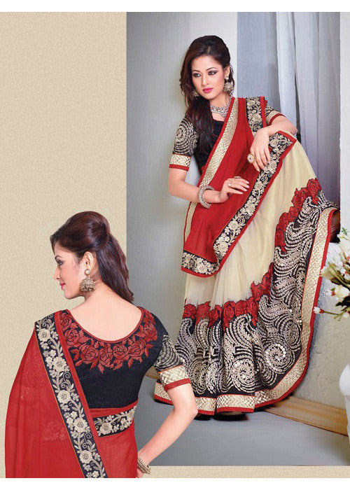 MAROON & CREAM CHIFFON / NET / GEORGETTE SAREE