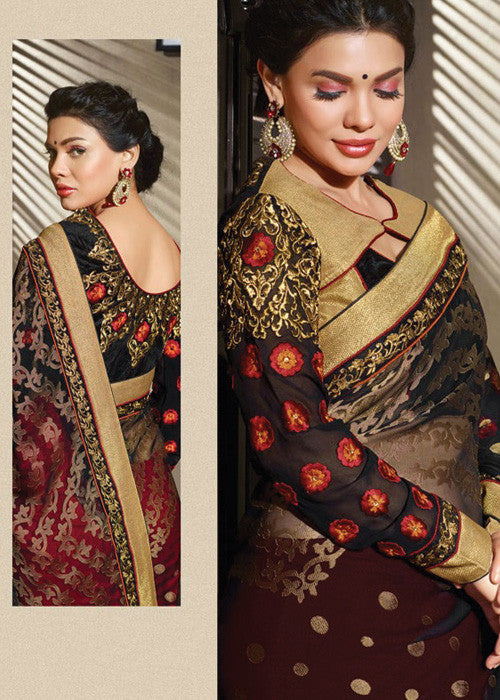 MAROON & BLACK BRASSO / GEORGETTE SAREE