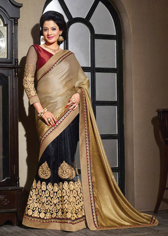 BEIGE & BLACK CHIFFON / NET SAREE