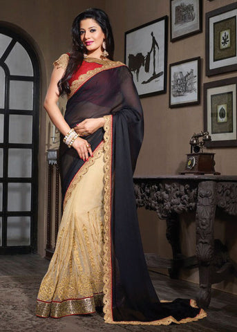 LOVABLE BLACK & CREAM MOSS CHIFFON / NET SAREE