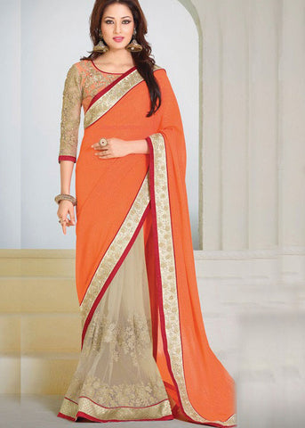 VIBRANT ORANGE & BEIGE GEORGETTE / NET SAREE