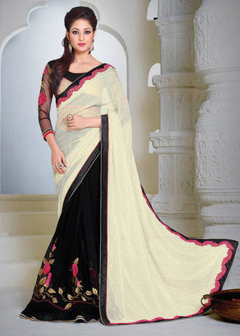 ANGELIC CREAM & BLACK MOSS CHIFFON / GEORGETTE SAREE