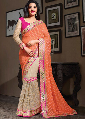 PERFECT ORANGE & BEIGE BRASSO / NET SAREE