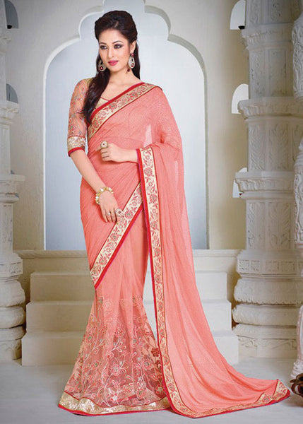 BRILLIANT PEACH GEORGETTE / NET SAREE