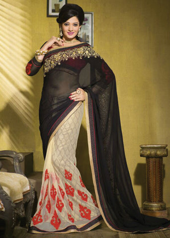 SENSIBLE BLACK & CREAM GEORGETTE / BRASSO / NET SAREE