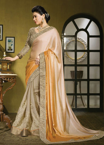 BEIGE & ORANGE & PEACH MOSS CHIFFON SAREE