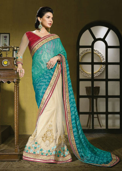 CREAM & SEA GREEN BRASSO / NET SAREE