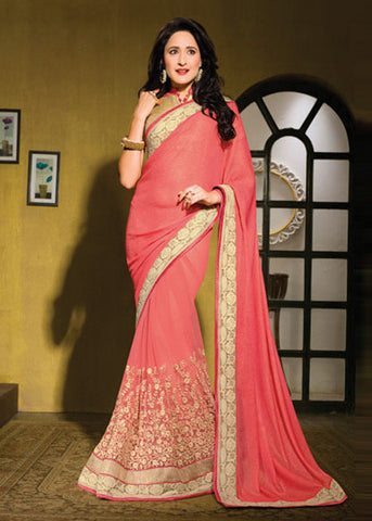 EXCITING PEACH CHIFFON / NET SAREE