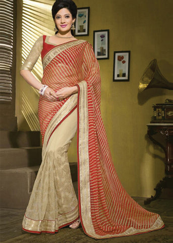 SHINING ORANGE & CREAM BRASSO / NET SAREE