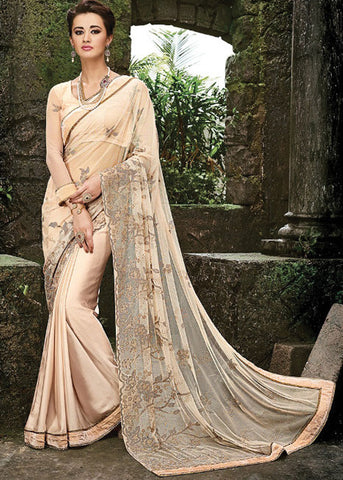 TEMPTING DARK CREAM NET / PURE SATIN SAREE