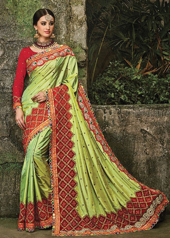 GORGEOUS LIGHT GREEN SILK PARTY SAREE