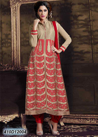 BEIGE RED GEORGETTE SEMI-STITCHED ANARKALI SUIT ONLINE