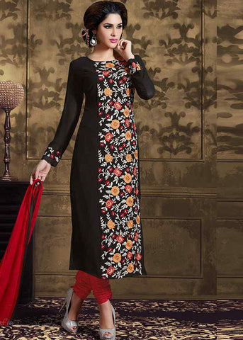 BLACK GEORGETTE SEMI-STITCHED DESIGNER SALWAR SUIT