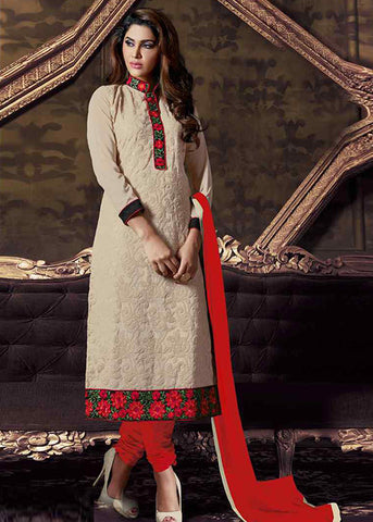 Beige and Red Coloured Georgette Semi-Stitched Designer Salwar Suit