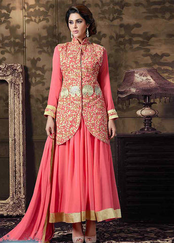 PINK GEORGETTE SEMI-STITCHED ANARKALI SUIT ONLINE