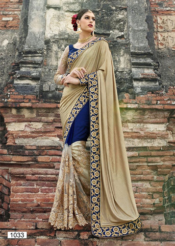 BEIGE & BLUE GEORGETTE NET SAREE DESIGNER PARTY WEAR ONLINE