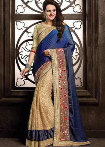 BEIGE & BLUE GEORGETTE NET SAREE - LATEST DESIGN