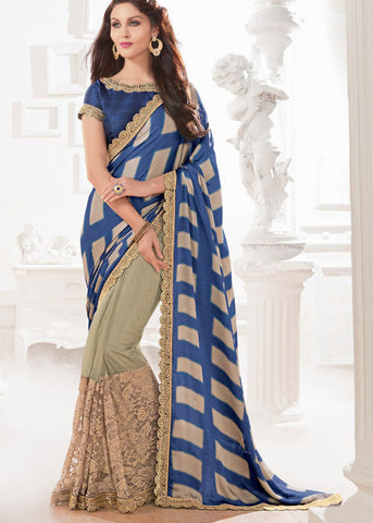BUY EMBROIDERED BLUE AND BEIGE SATIN SAREES FOR WOMEN AT BEST PRICE