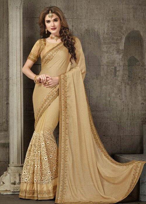BEIGE CHIFFON SAREE WITH EMBROIDERY WORK ONLINE