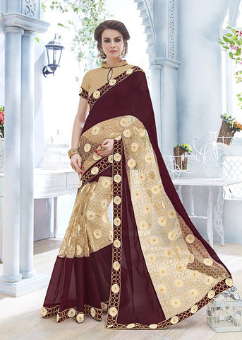 BEIGE & COFFEE CHIFFON SAREE ONLINE USA