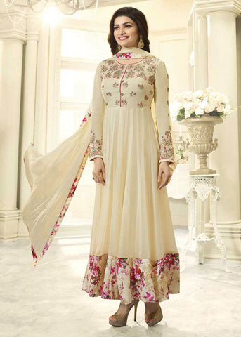 BEIGE GEORGETTE NEW STYLISH ANARKALI DRESS ONLINE - BEST PRICE