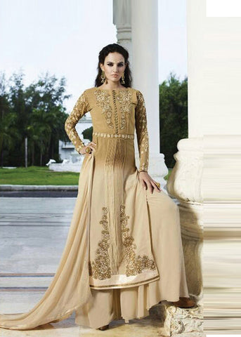 BEIGE GEORGETTE SALWAR KAMEEZ WITH EMBROIDERY WORK ONLINE