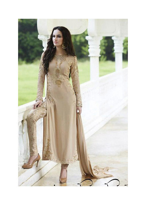 BEIGE GEORGETTE SALWAR KAMEEZ WITH EMBROIDERY WORK ONLINE - FREE SHIPPING USA CANADA