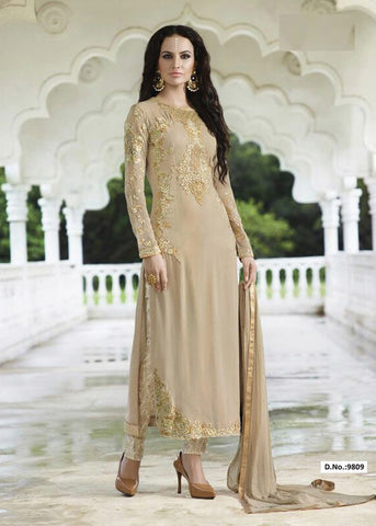 BEIGE GEORGETTE SALWAR KAMEEZ WITH EMBROIDERY WORK - INDIAN DRESS ONLINE