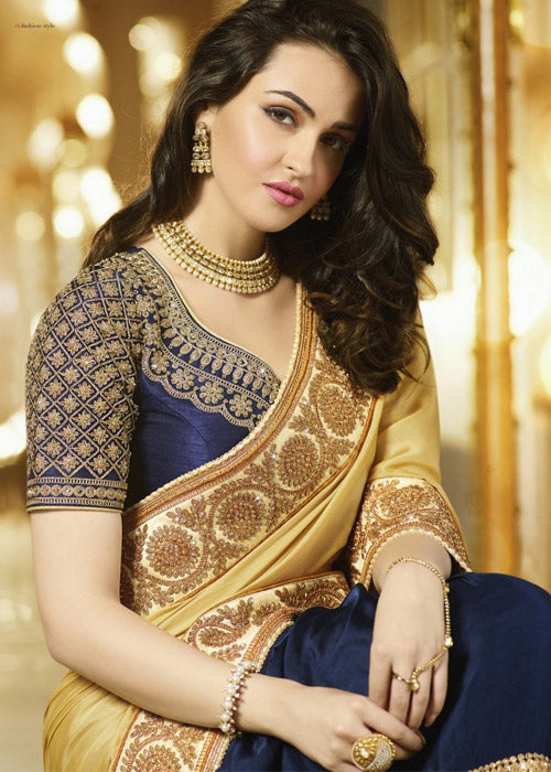 BEIGE & NAVY BLUE EMBROIDERED SATIN CHIFFON SAREE