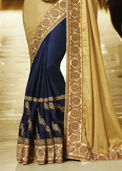 BEIGE & NAVY BLUE DESIGNER SATIN CHIFFON SAREE - FREE SHIPPING WORLDWIDE