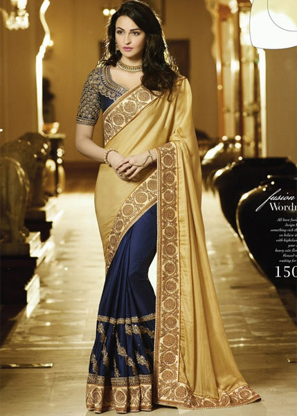BEIGE & NAVY BLUE SATIN CHIFFON SAREE