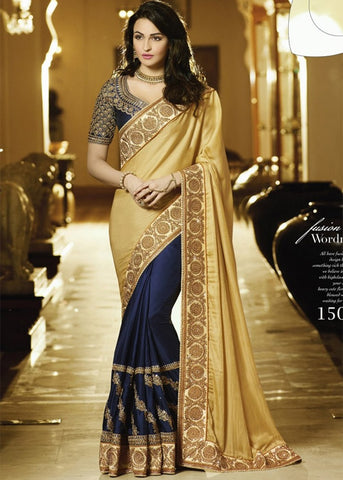 BEIGE & NAVY BLUE STONE WORK SATIN CHIFFON SAREE