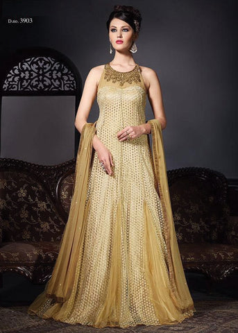 BEIGE NET ANARKALI SUIT - ANARKALI DRESS ONLINE
