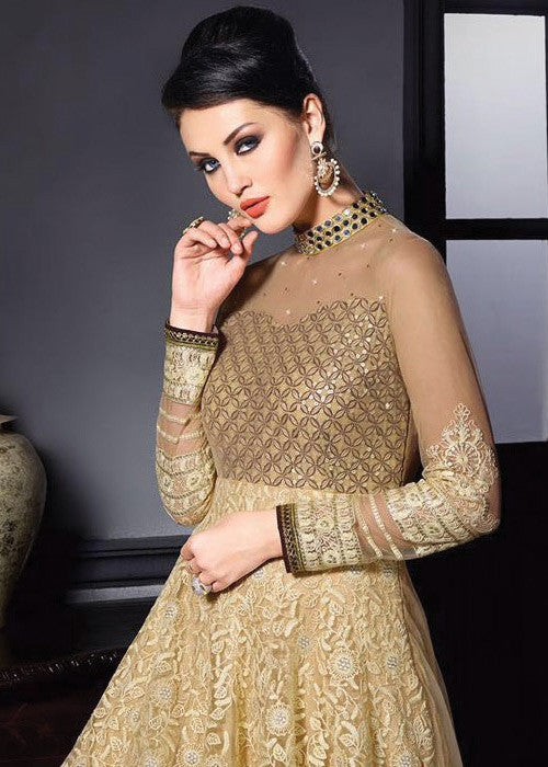 BEIGE NET ANARKALI SUIT - INDIAN ANARKALI DRESS ONLINE