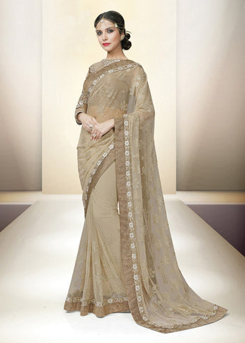 BEIGE NET INDIAN LATEST SAREE ONLINE