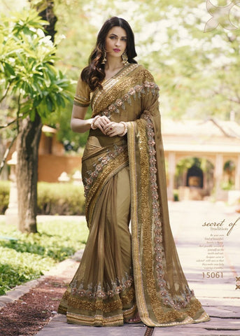 BEIGE NET DESIGNER PARTY SAREE