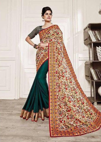 BEIGE & OLIVE GREEN NET SILK GEORGETTE SAREE - INDIAN WOMEN PARTY SARI ONLINE